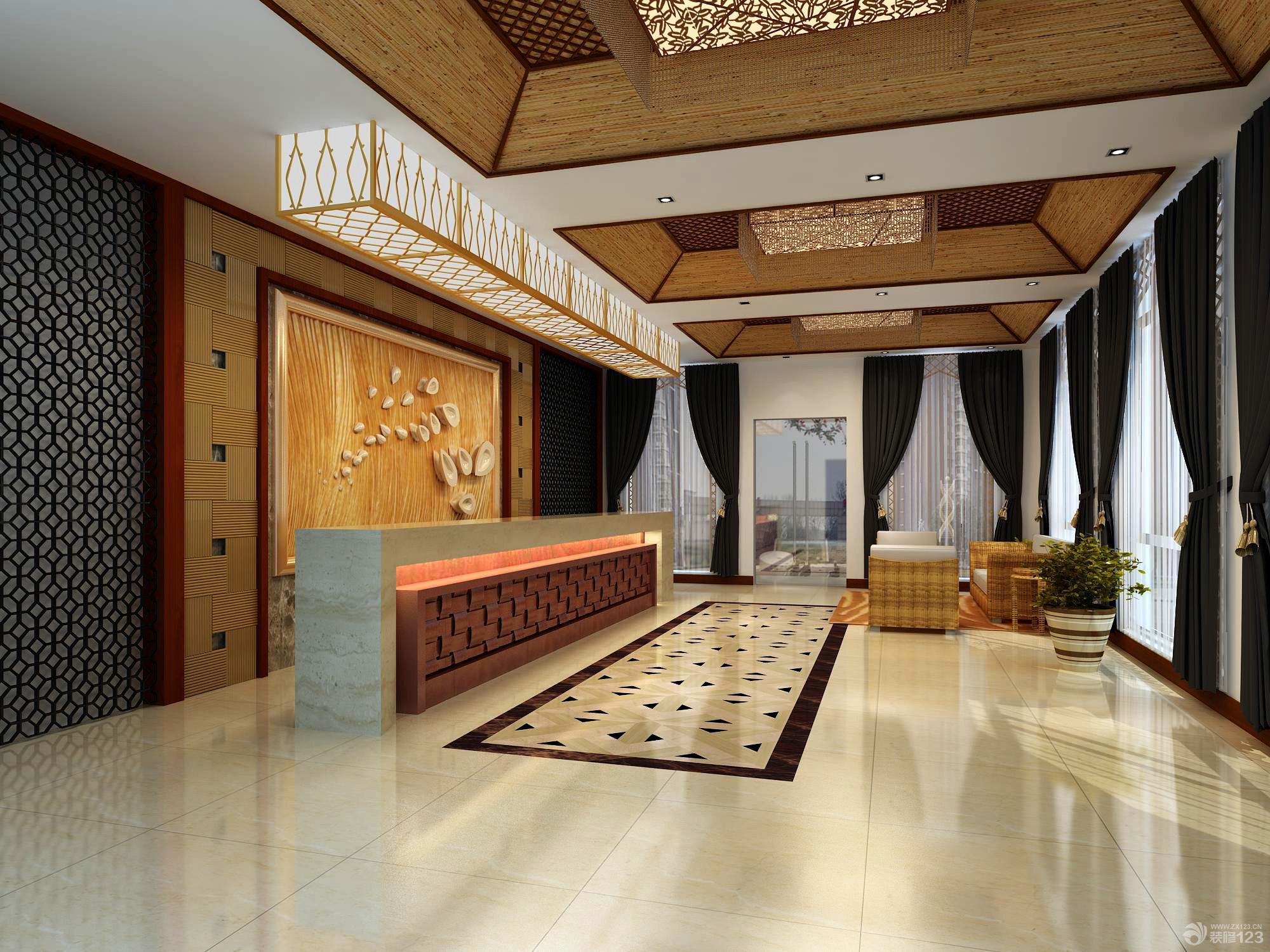 酒店前台木质背景墙设计效果图