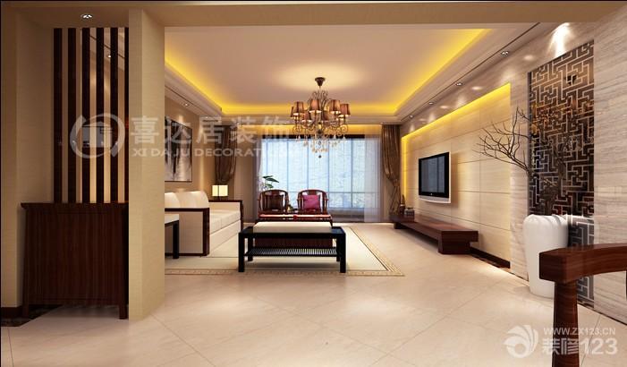 2016简中式客厅条纹壁纸装修效果图