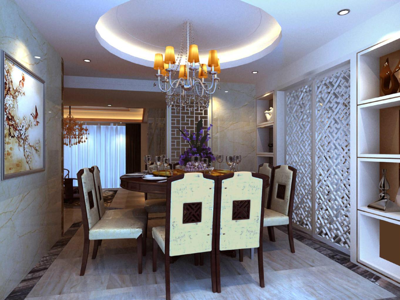 中式餐厅木质门装修效果图