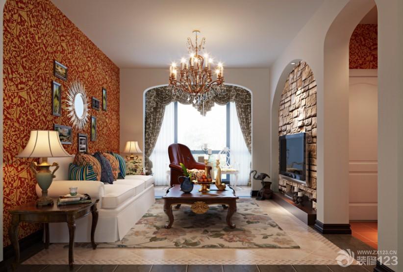 地中海风格家装客厅拱形门洞效果图片欣赏