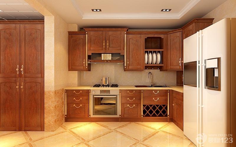 欧式风格厨房整体实木橱柜效果图欣赏