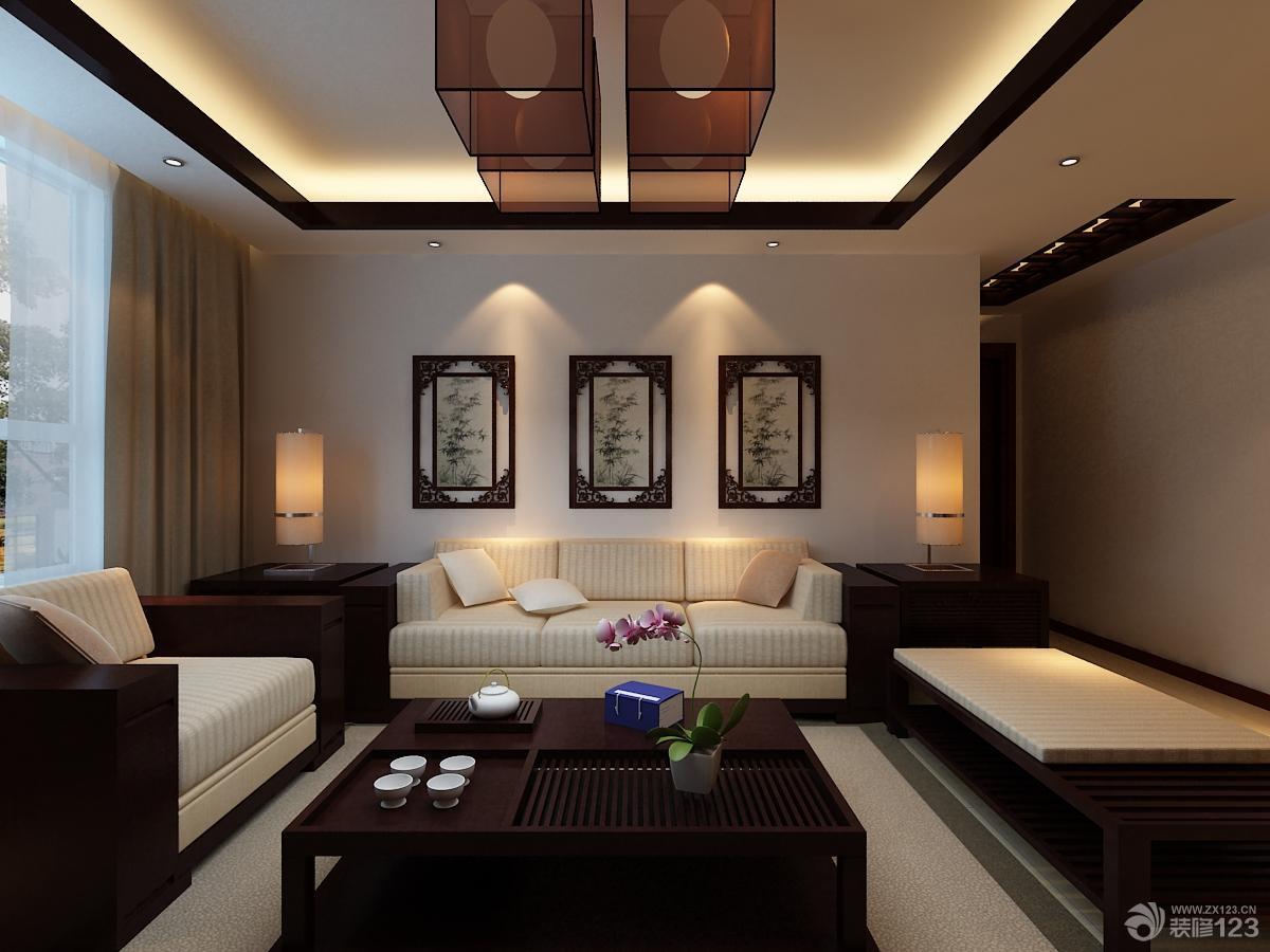 2016新中式客厅装修设计背景墙效果图
