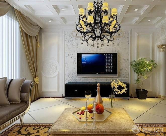 现代欧式客厅装潢电视背景墙效果图欣赏