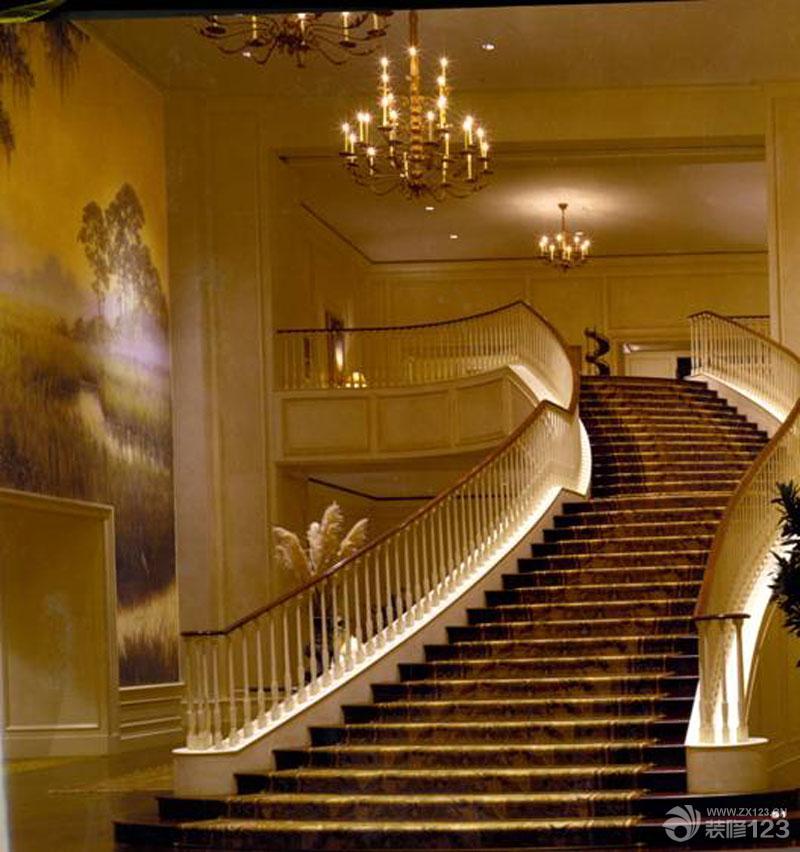 欧式新古典风格酒店弧形梯设计图片大全