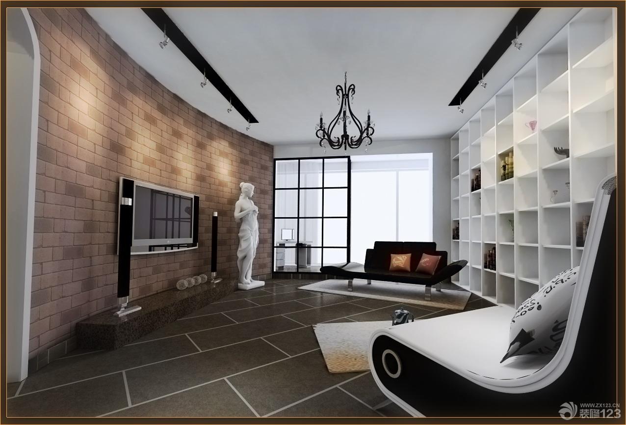 简约客厅壁纸影视墙效果图_设计456装修效果图