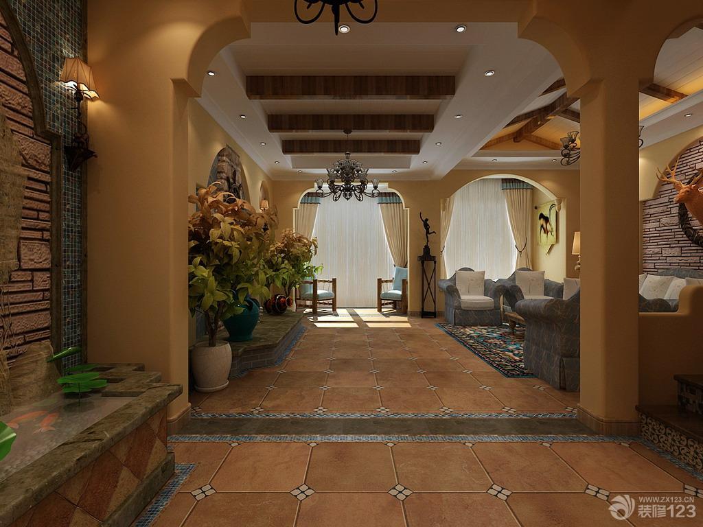 地中海风格客厅柱子装修效果图片