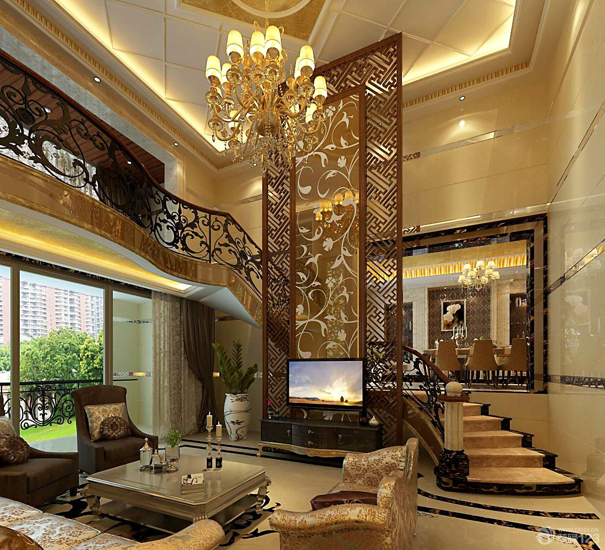 欧式家装设计复式房客厅楼梯装修效果图