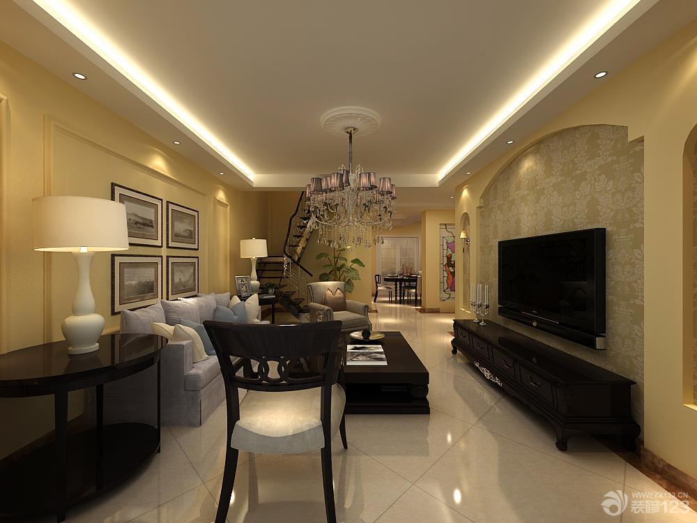 最新简欧式客厅装修设计电视背景墙效果图