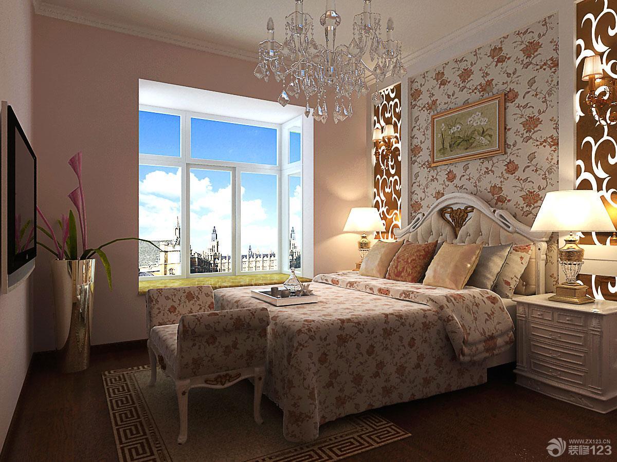 2013欧式卧室床头背景墙花纹壁纸效果图图片