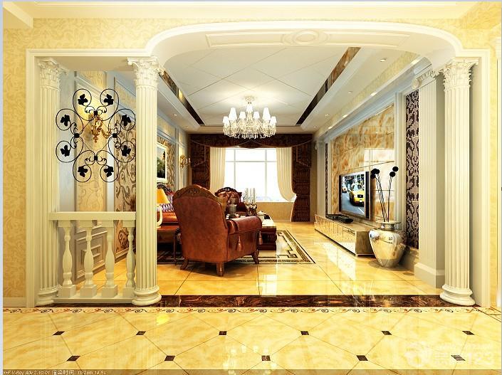 2015最新简欧式客厅柱子装修效果图欣赏