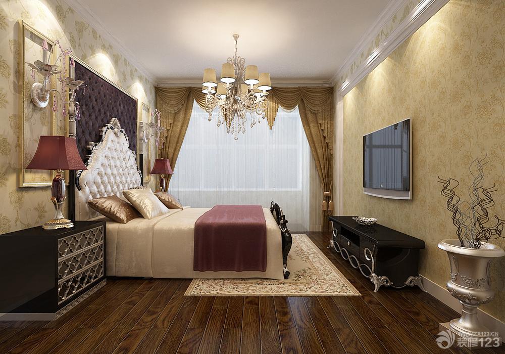 欧式新古典风格主卧室背景墙壁纸装修设计图片大全