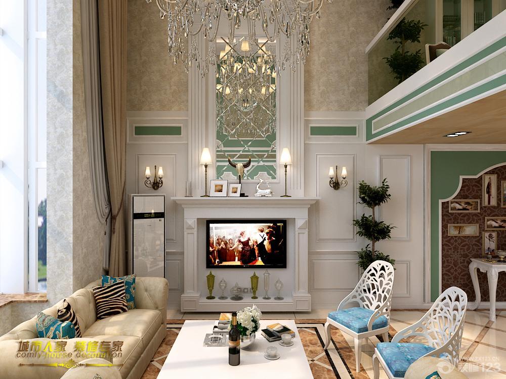 欧式家装设计挑高客厅装修效果图欣赏