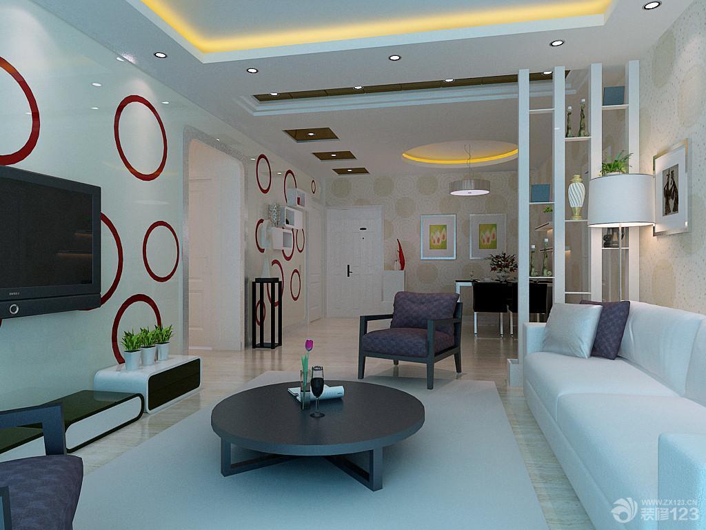 装修效果图 家居设计 现代沉稳客厅隔断博古架装修样板房