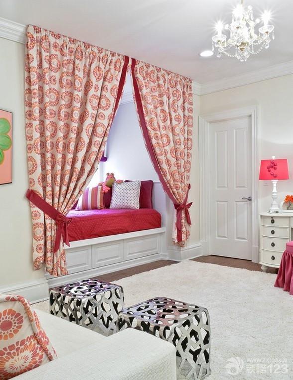 现代家庭卧室飘窗改床装修图片大全
