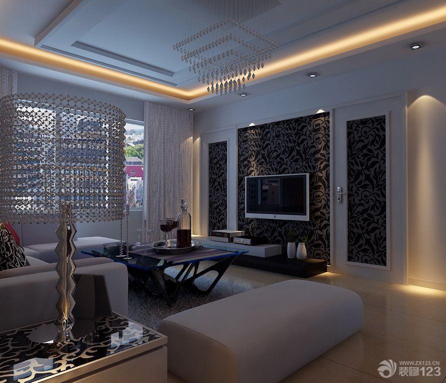 时尚客厅电视背景墙隐形门设计图片_设计456装修效果图