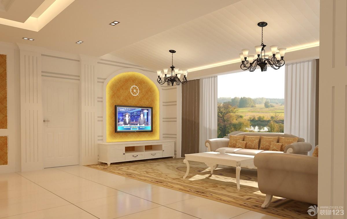 裝修效果圖 家居設計 2015簡約歐式風格室內客廳隱形門裝飾圖片大全