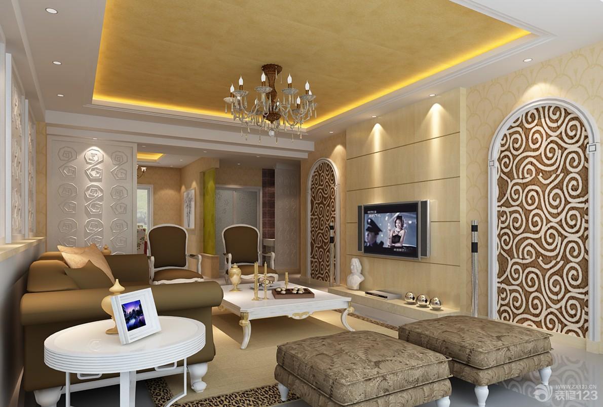 最新现代欧式风格20平米客厅隐形门装修效果图