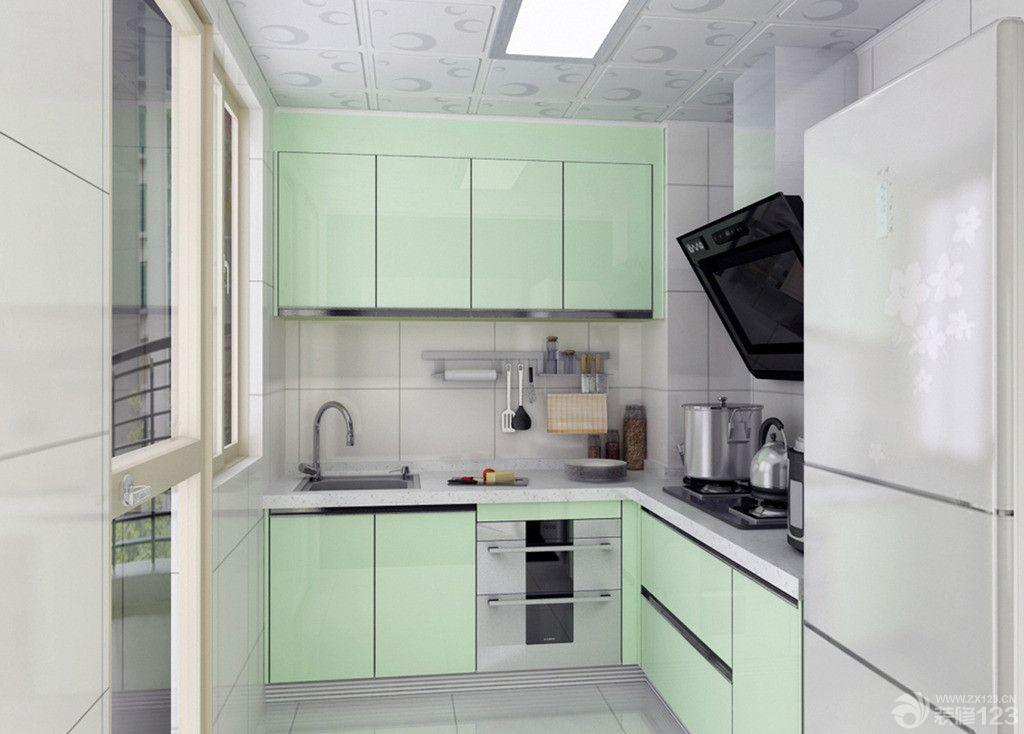 冷色调超小厨房铝扣板吊顶装修效果图片