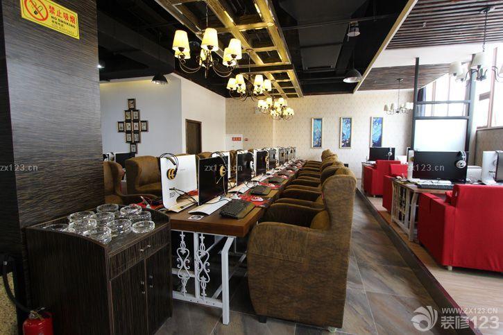 最新美式装修风格网吧专用桌椅设计图大全