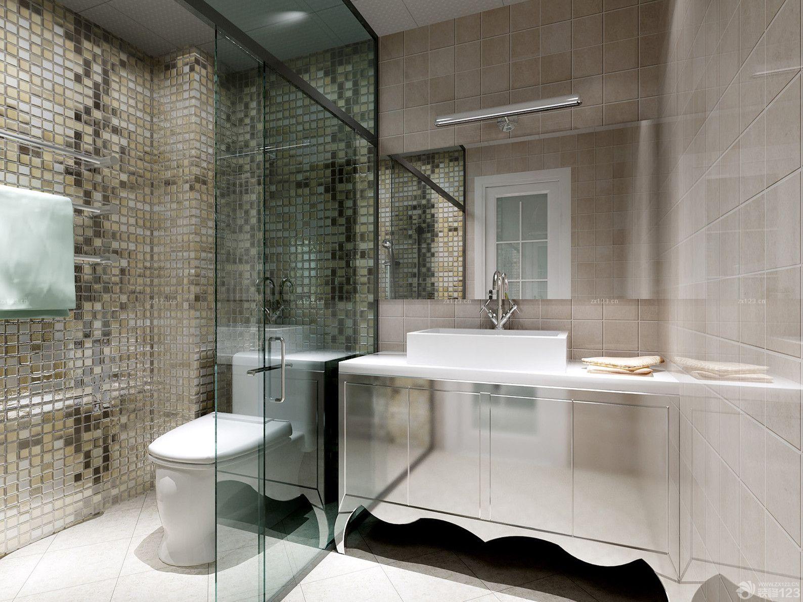 最新現代時尚4平方衛生間鋼化玻璃隔斷裝修效果圖