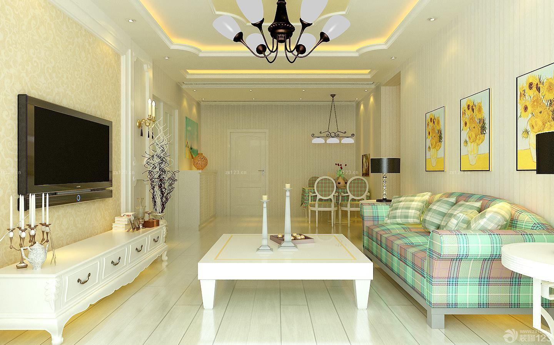 最新欧式田园风格正方形客厅装修效果图片