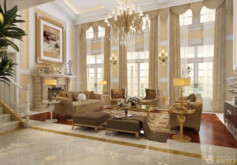 2016欧式奢华挑空客厅窗帘装饰图片