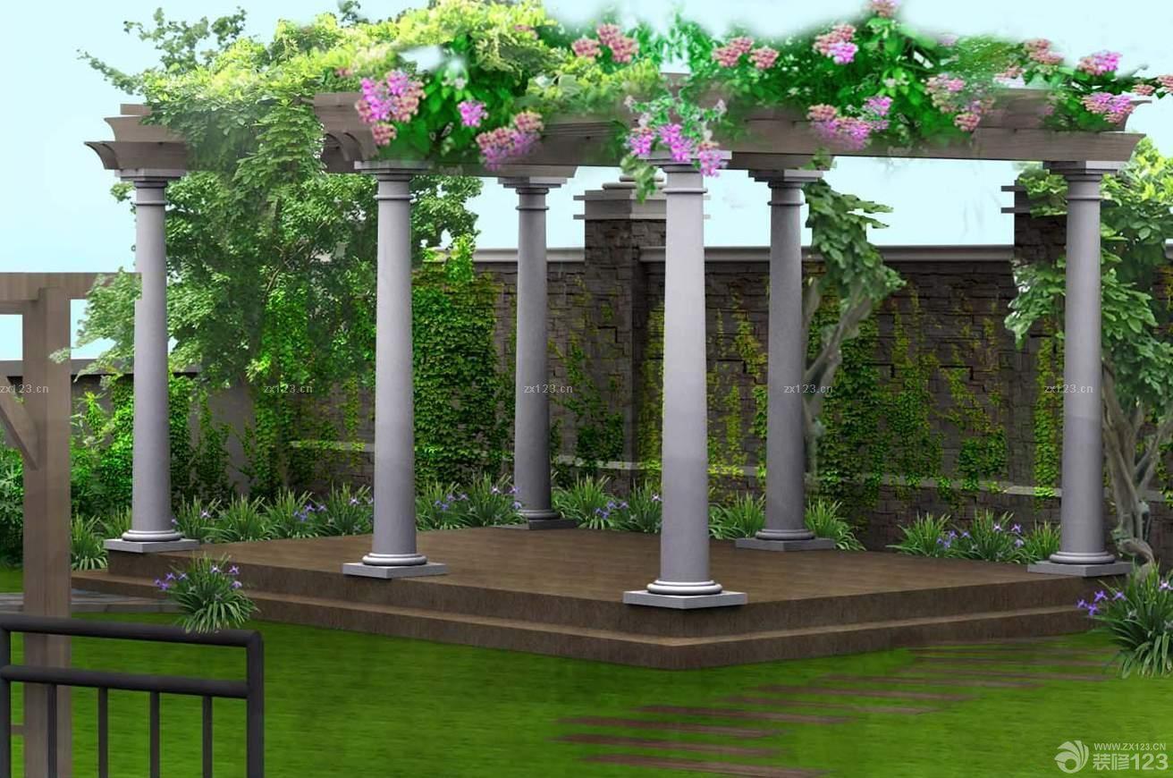 欧式风格别墅庭院屋顶花园园林景观效果图
