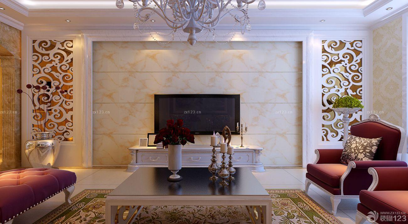 现代欧式混搭风格楼中楼电视背景墙效果图片