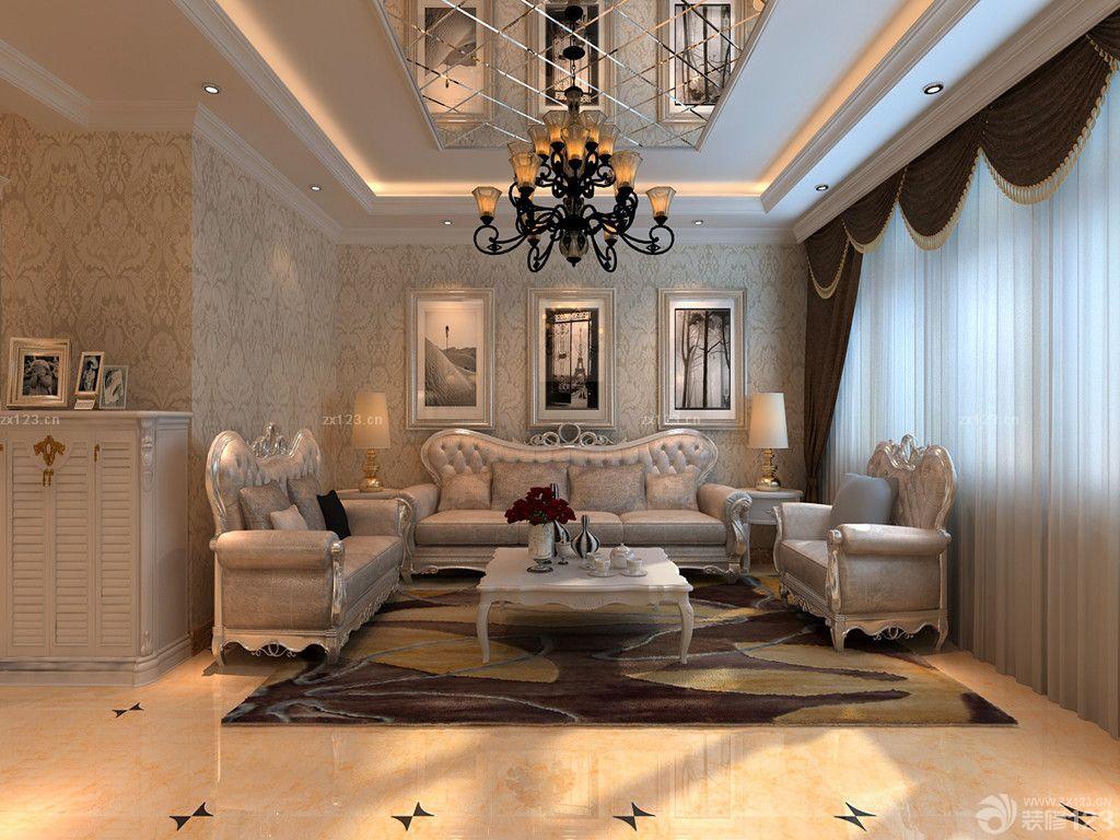 新古典风格楼中楼客厅玻璃天花板吊顶装修效果图欣赏