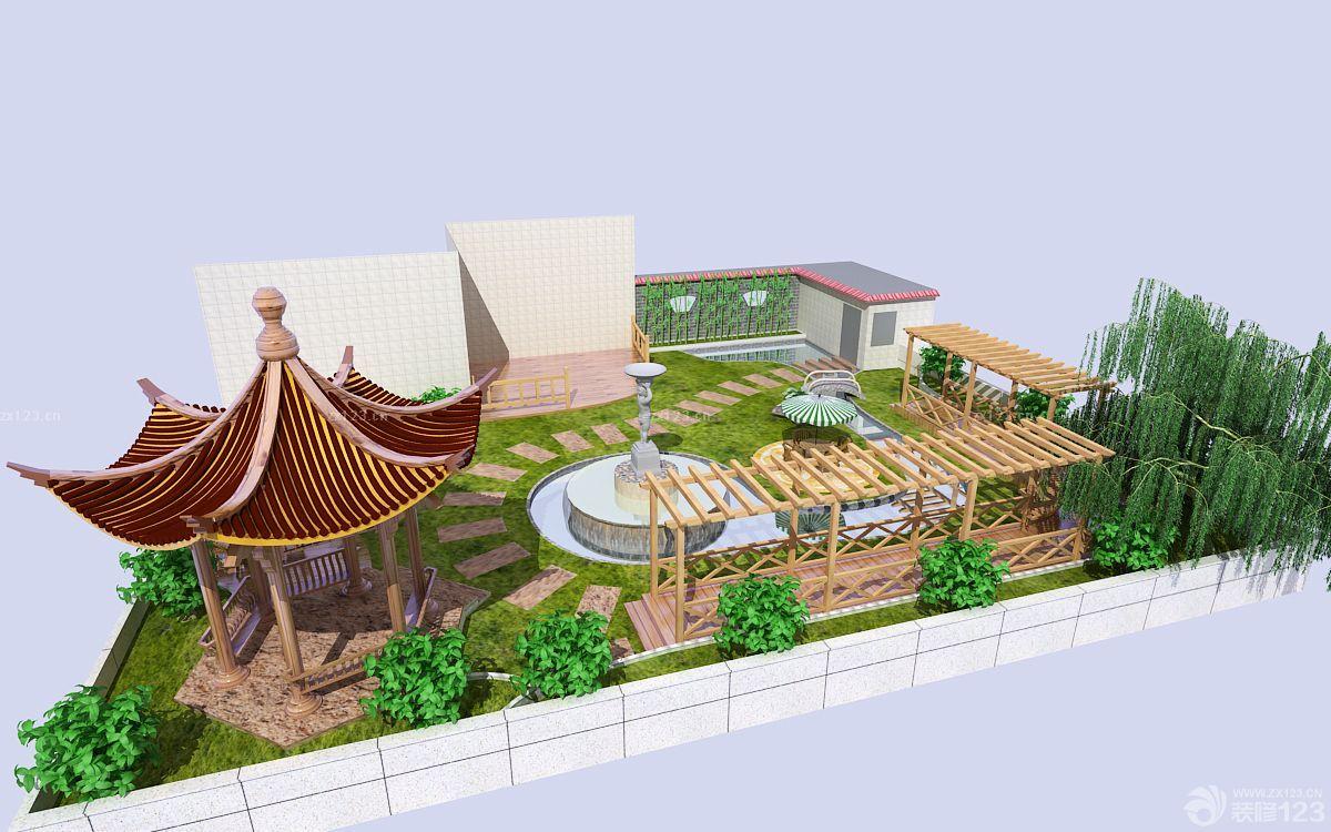 中式古典風格屋頂花園裝修效果圖