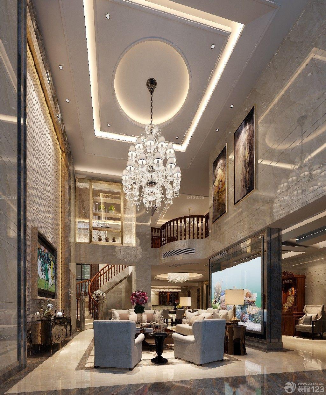 最新简约欧式风格豪华别墅挑高客厅装修效果图欣赏