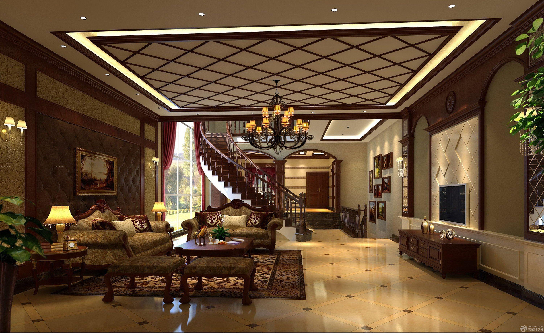 现代美式混搭风格实木楼梯扶手效果图