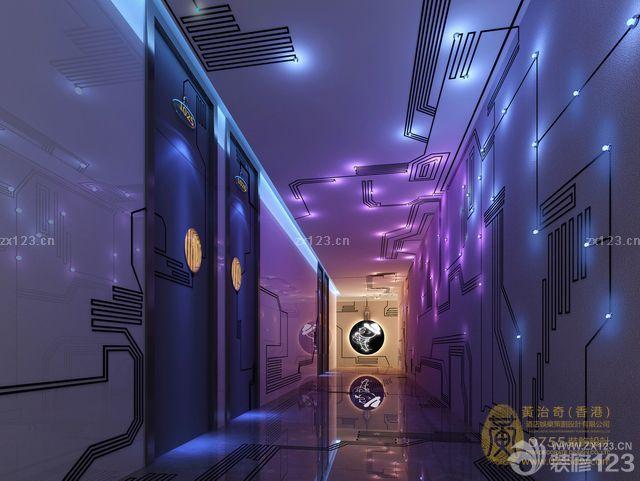 最新现代设计风格ktv装潢走廊装修效果图片
