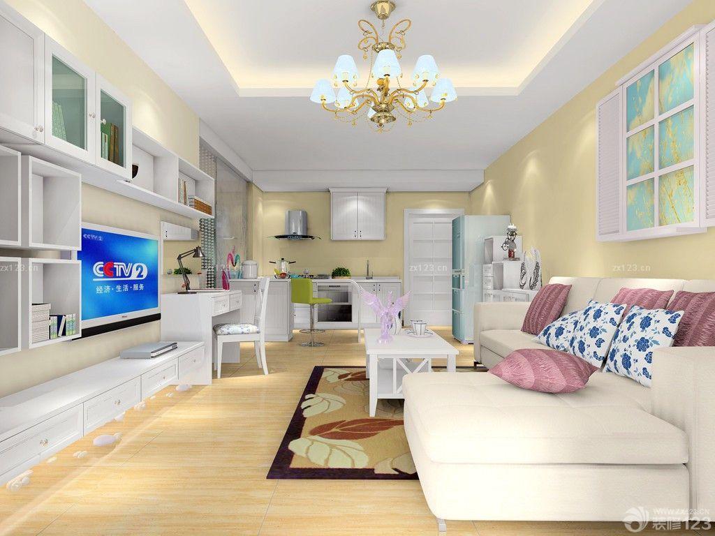 现代时尚40平公寓客厅电视组合柜设计图片