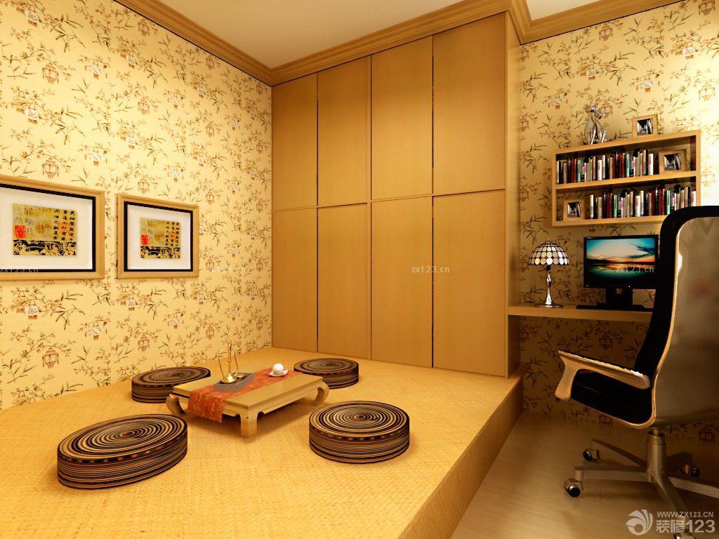 日式风格小房间书房榻榻米装修效果图欣赏