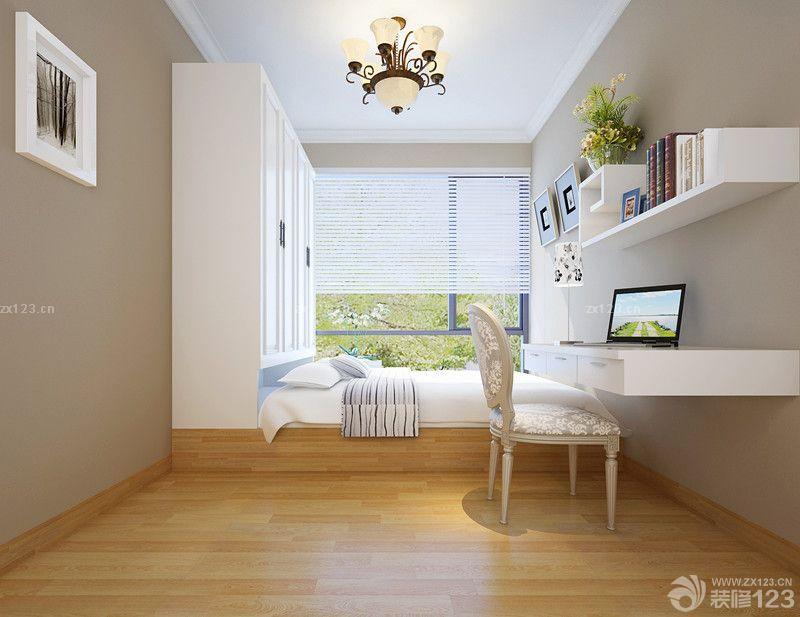 书房设计浅褐色木地板阳台榻榻米效果图欣赏
