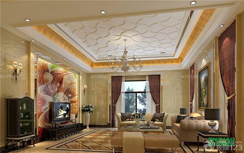 2016最新欧式家装设计挑高客厅天花板吊顶装修效果图
