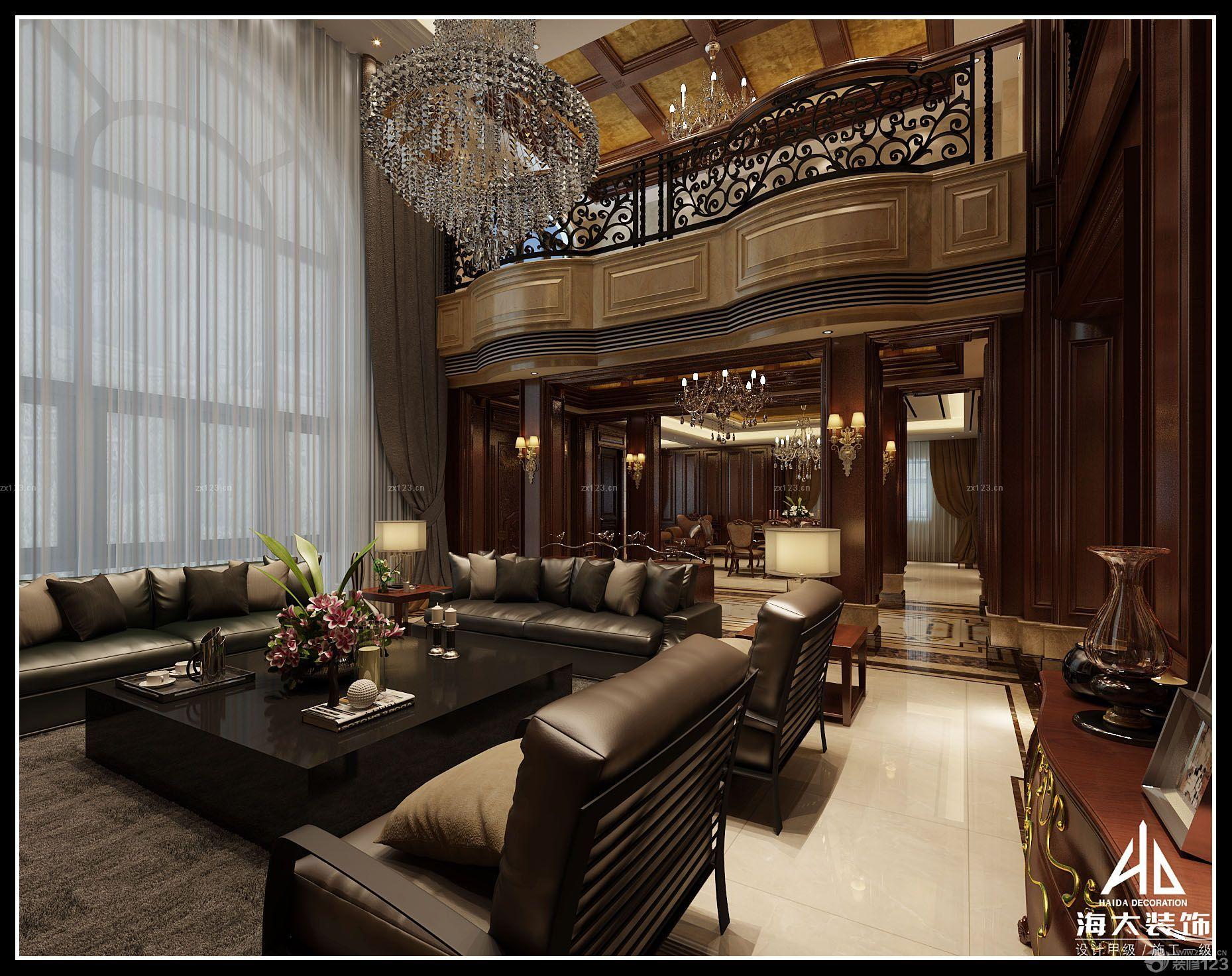 欧式家装设计复式住宅挑高客厅装修效果图