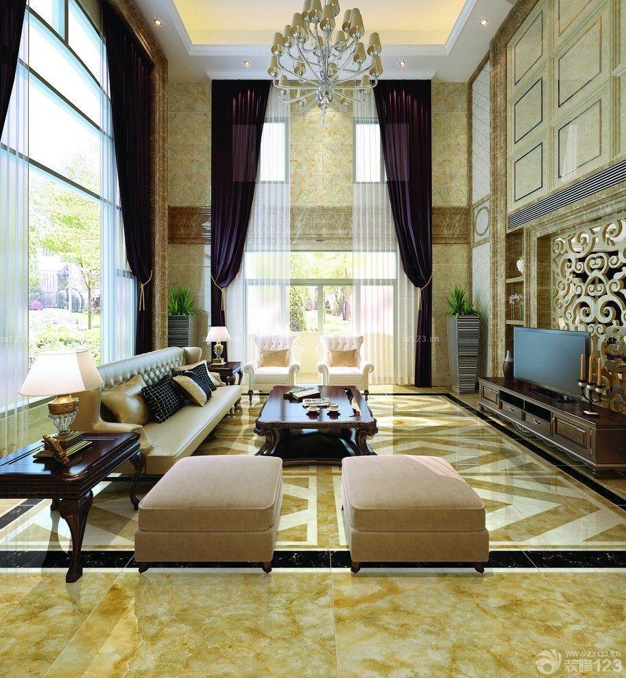 欧式风格别墅客厅窗帘装修设计效果图