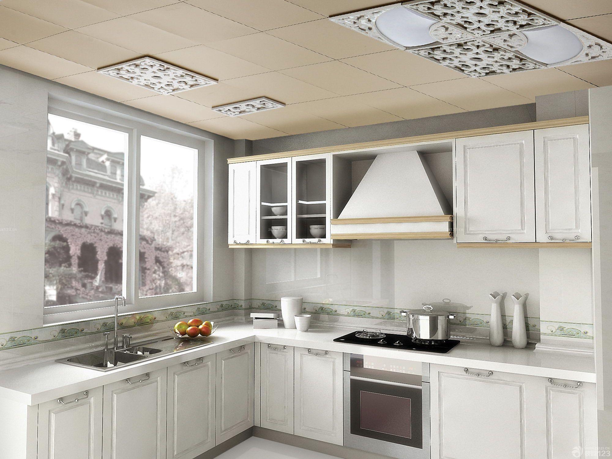 欧式风格厨房吊顶铝扣板效果图