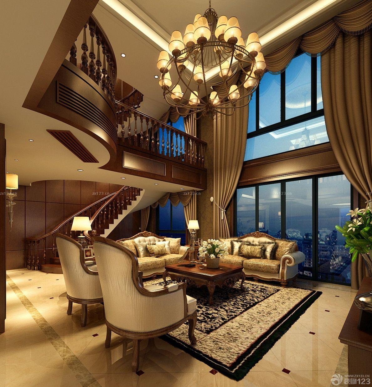 美式风格复式别墅客厅窗帘装饰设计图片