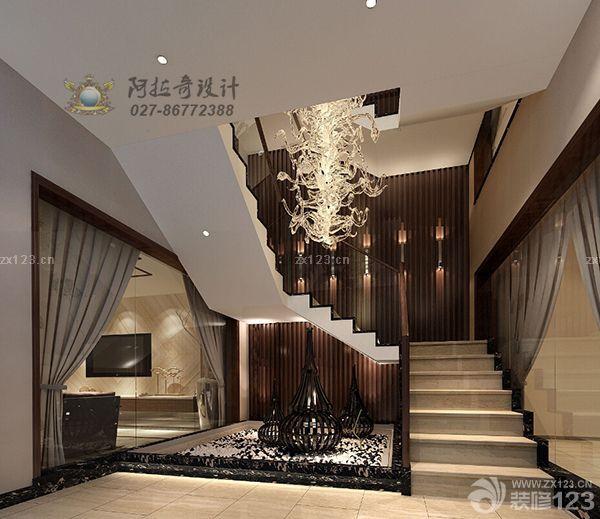 最新中式风格设计小别墅室内旋转楼梯图