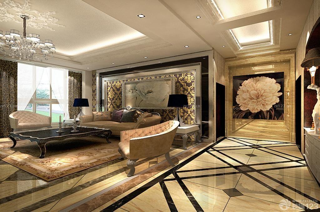 欧式风格客厅天花板吊顶装修案例