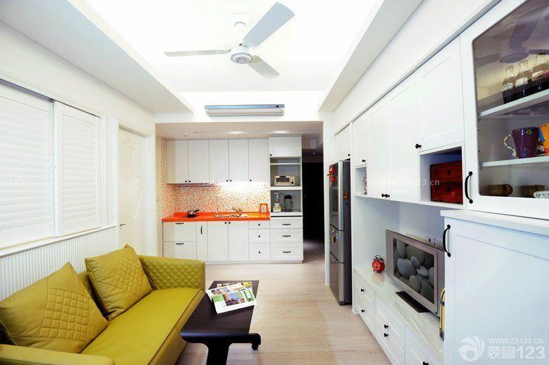 现代简约风格40平米一室一厅小户型效果图 设计456装修效果图