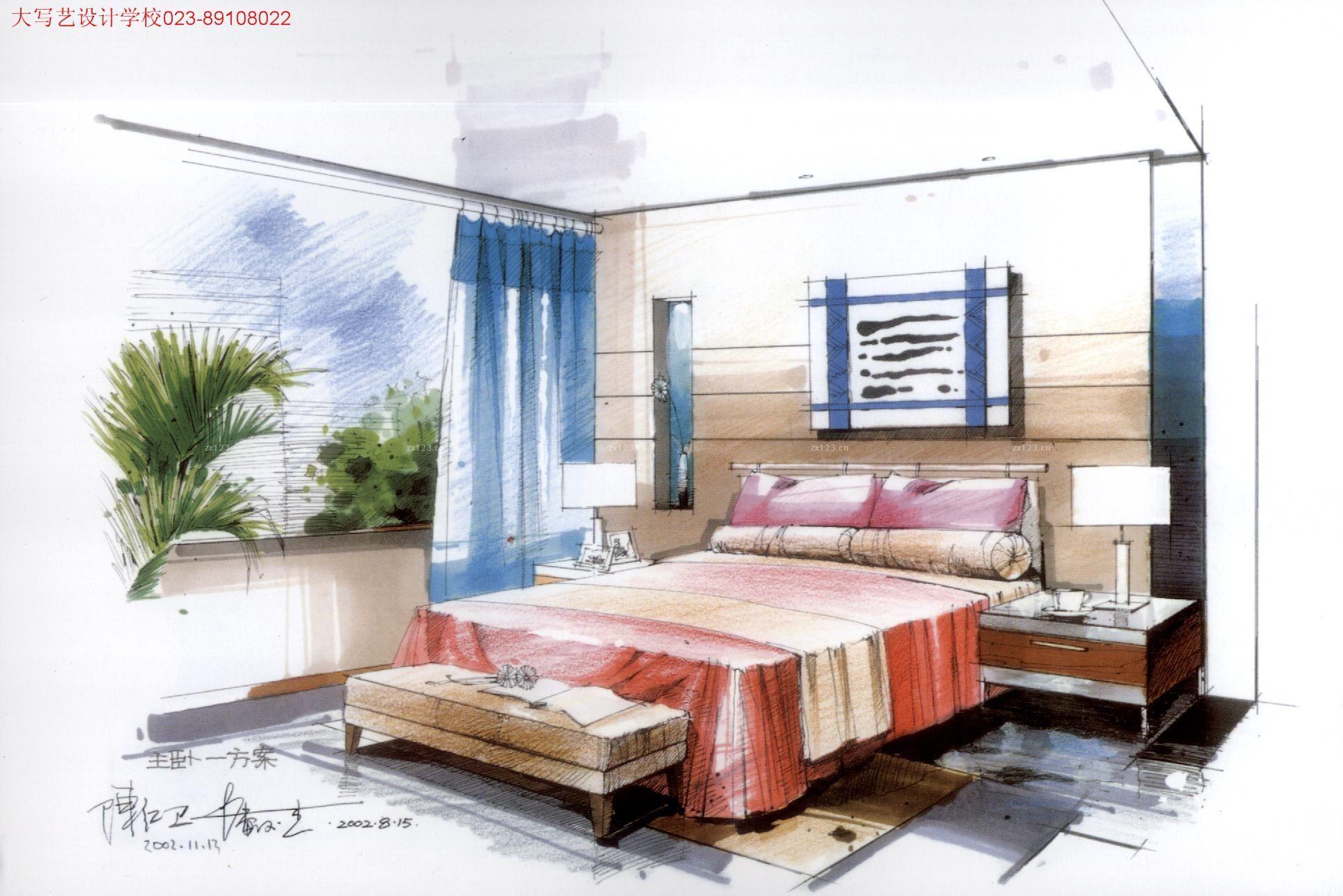 2016家装卧室简约风格手绘效果图 设计456装修效果图