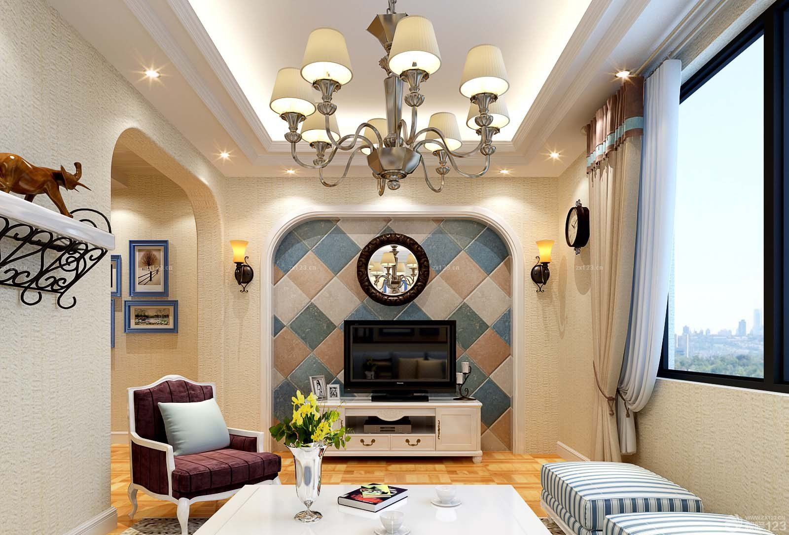 26平米一室一厅小户型客厅影视墙装修效果图片大全
