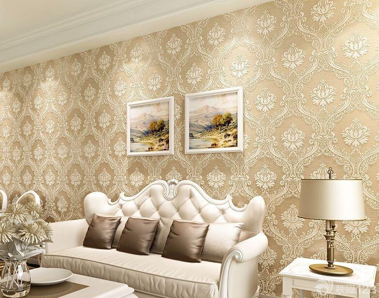 2015豪华客厅简欧风格壁纸装修效果图