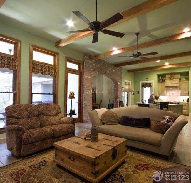 特色农村客厅美式乡村风格吊顶装修图片大全