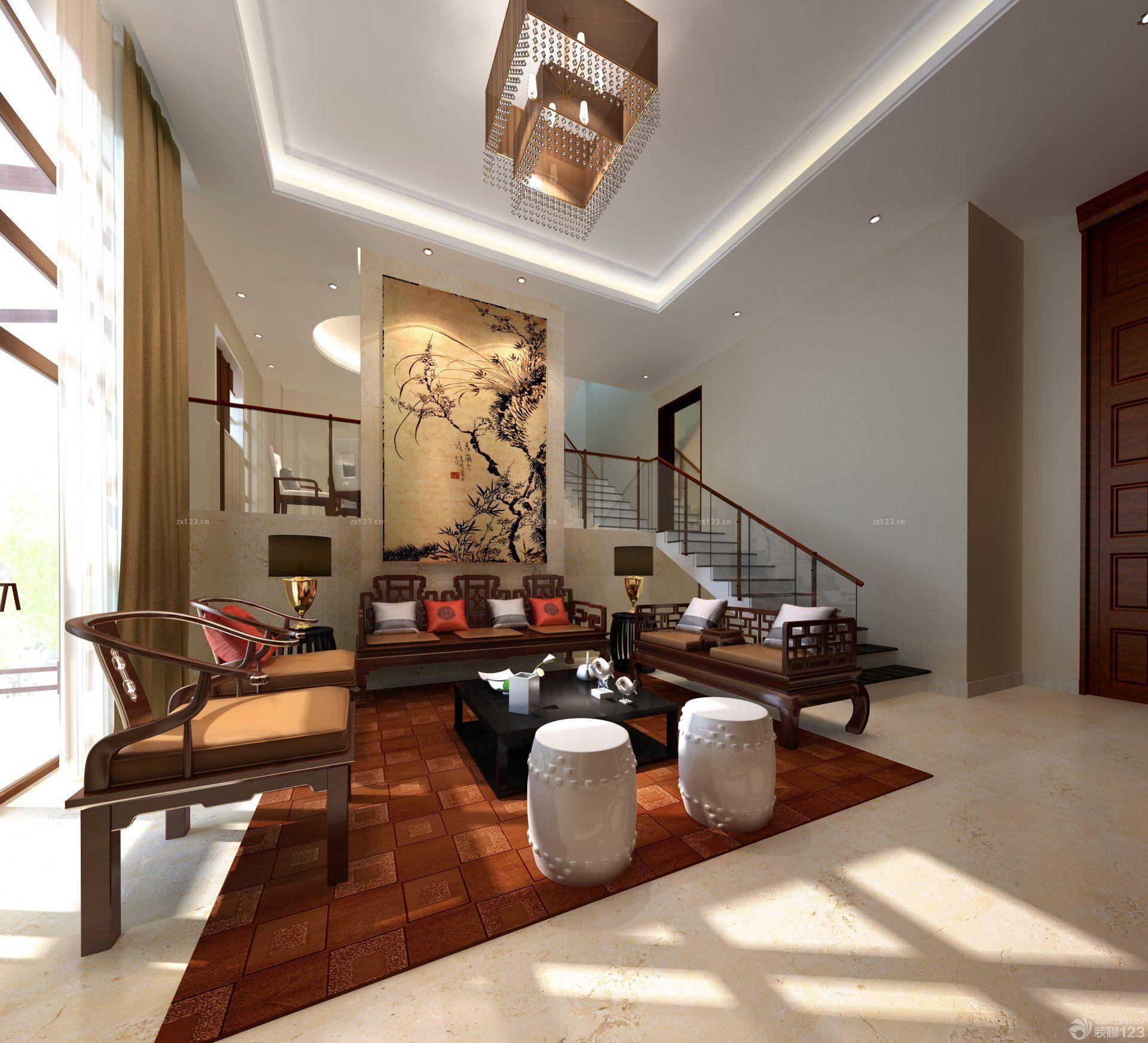2016最新楼中楼简欧风格客厅电视背景墙设计效果图