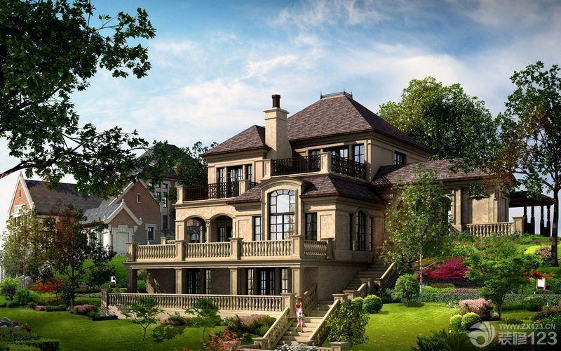 家庭装修美式乡村别墅外观设计效果图片大全